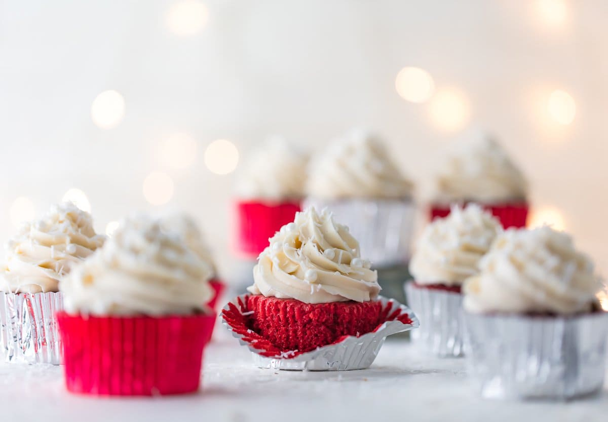 Red velvet cupcakes topped with frosting