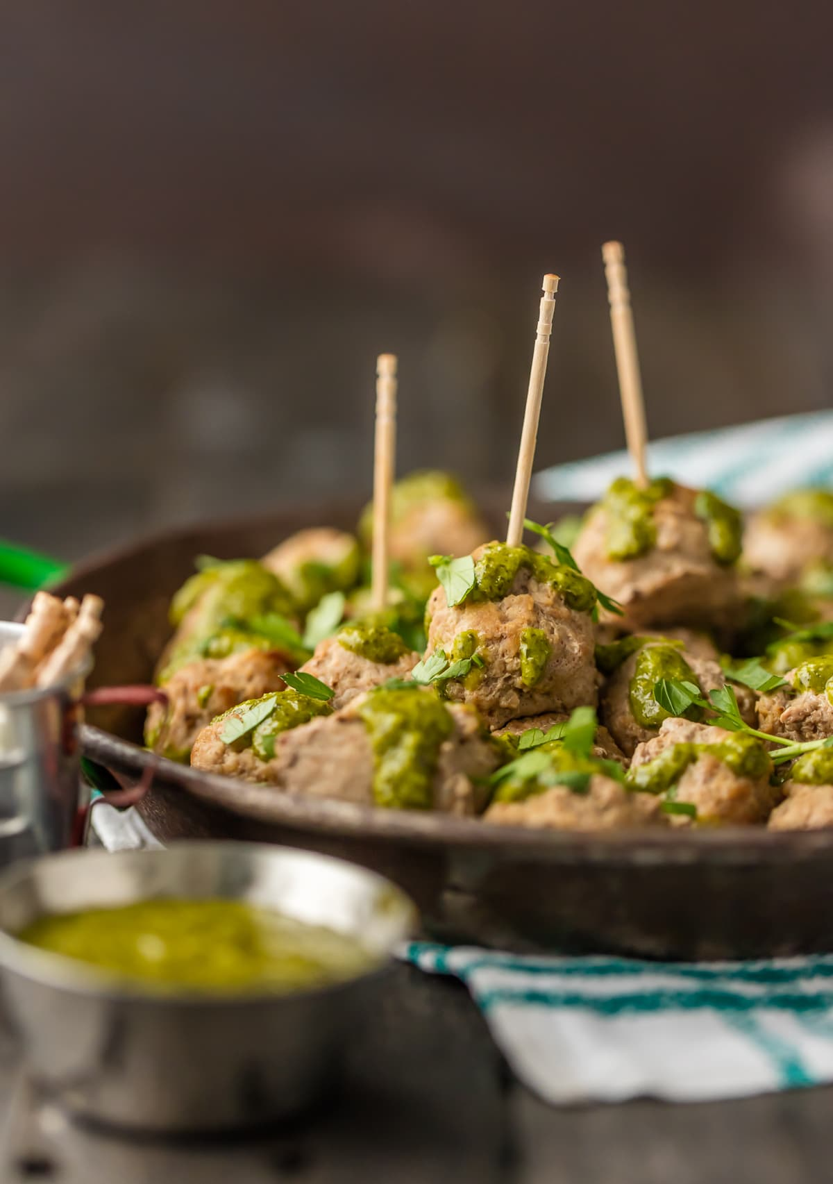 Peruvian Chicken Meatballs on a serving platter