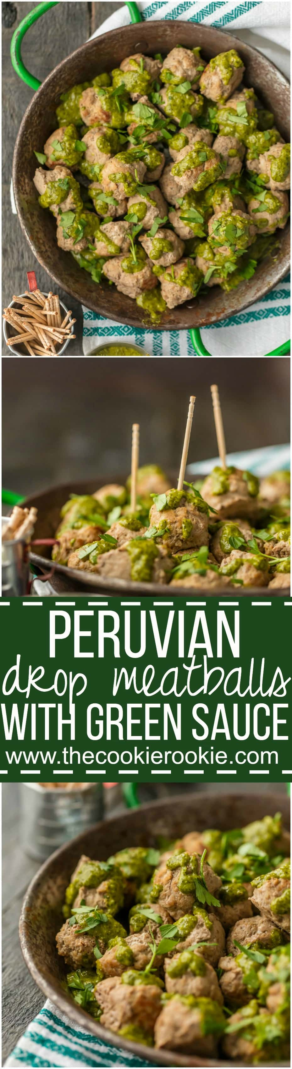 These PERUVIAN DROP MEATBALLS WITH GREEN SAUCE are the perfect holiday or Super Bowl appetizer! The green sauce, made with a parsley base, is just the right amount of spice. The meatballs are just the right amount of easy. Enjoy!