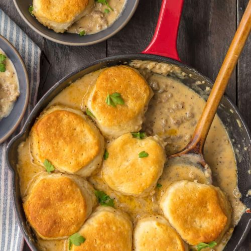 skillet with sausage biscuits