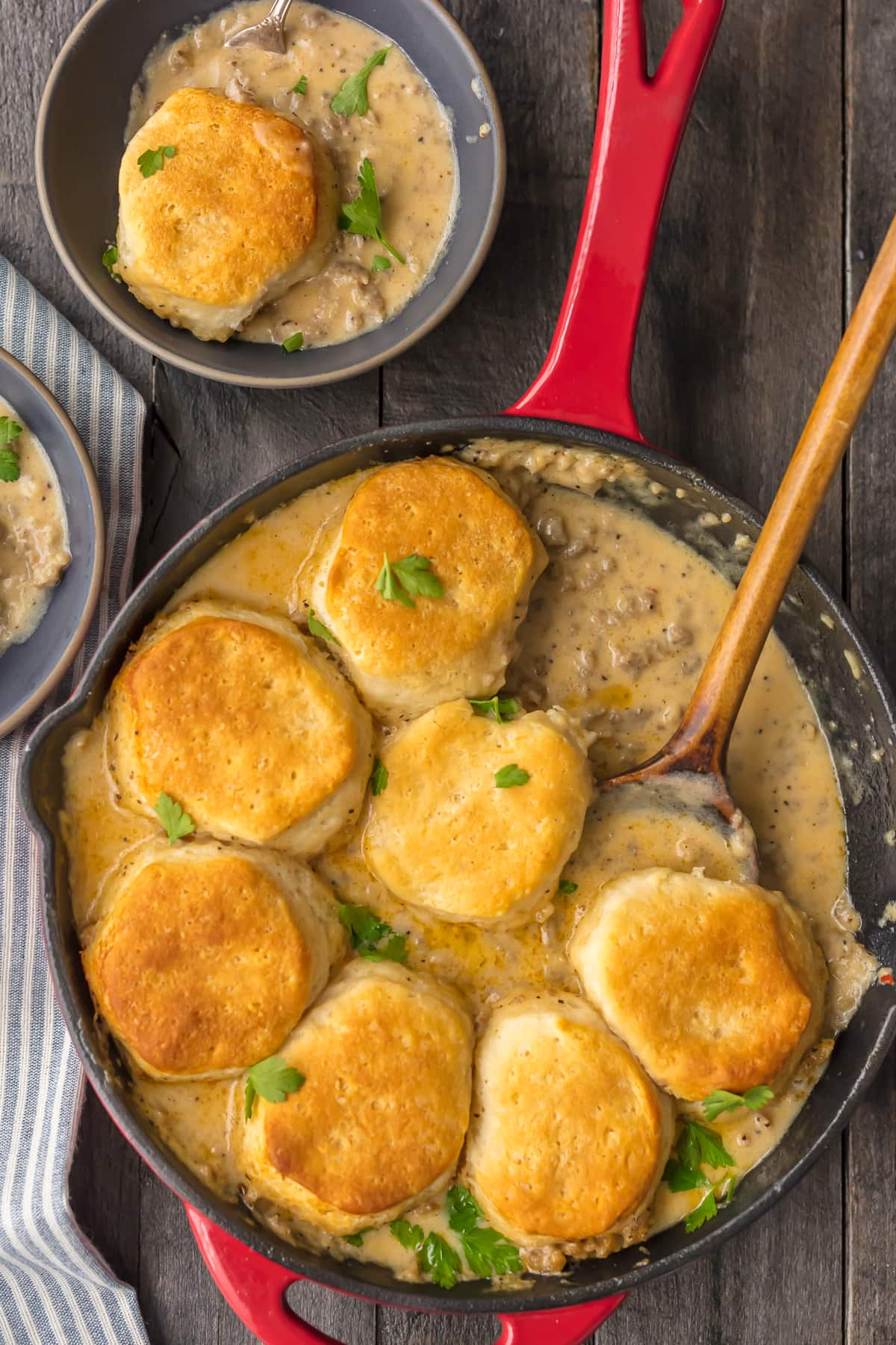 One pan skillet breakfast: biscuits and gravy in a skillet
