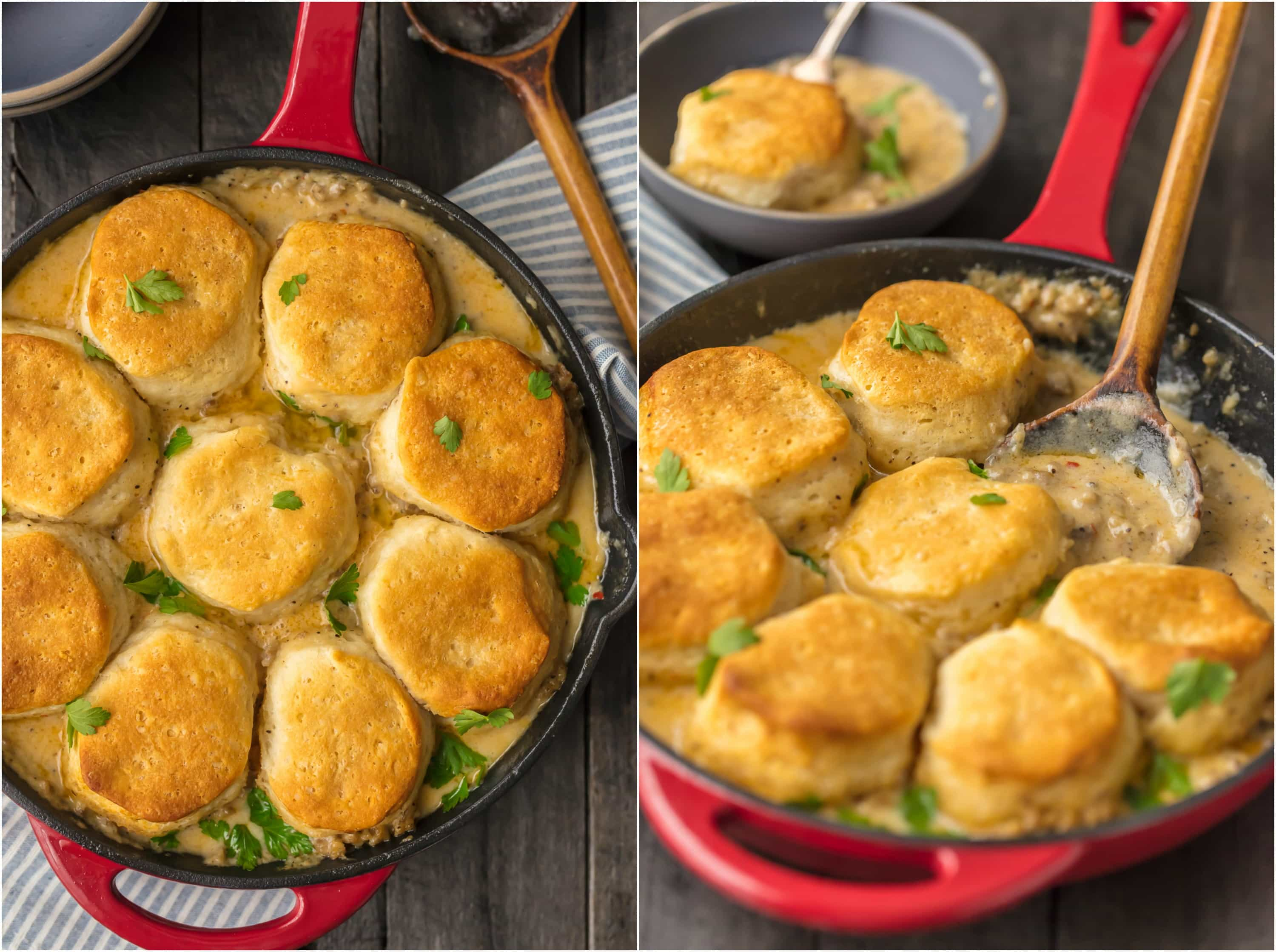 SAUSAGE BISCUITS AND GRAVY SKILLET COBBLER! So easy and delicious! This is our very favorite Christmas morning breakfast and for good reason! Holiday comfort food at its finest.