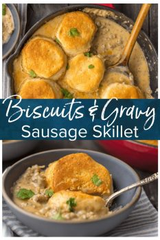 SAUSAGE BISCUIT GRAVY COBBLER is a delicious and easy one pan meal. This skillet breakfast recipe takes classic biscuits and gravy and makes it even better. This sausage and biscuits recipe has quickly becomeour very favorite Christmas morning breakfast and for good reason. Holiday comfort food at its finest! #biscuits #sausage #breakfast #christmas #onepan #thecookierookie