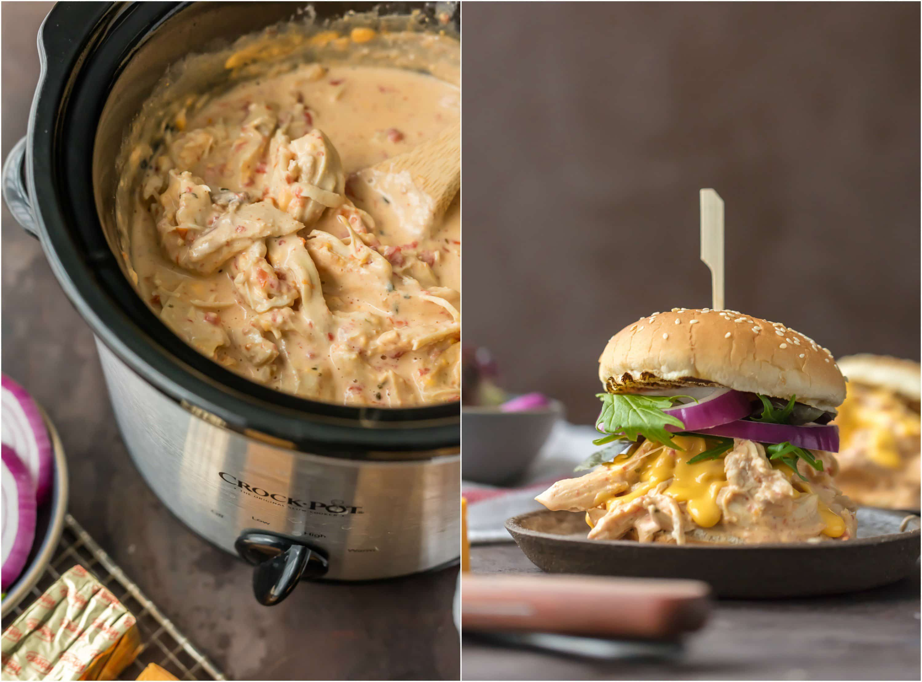 crockpot full of rotel dip chicken and sandwich with rotel dip chicken in it