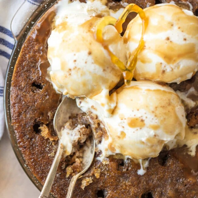 cake in a pan topped with ice cream