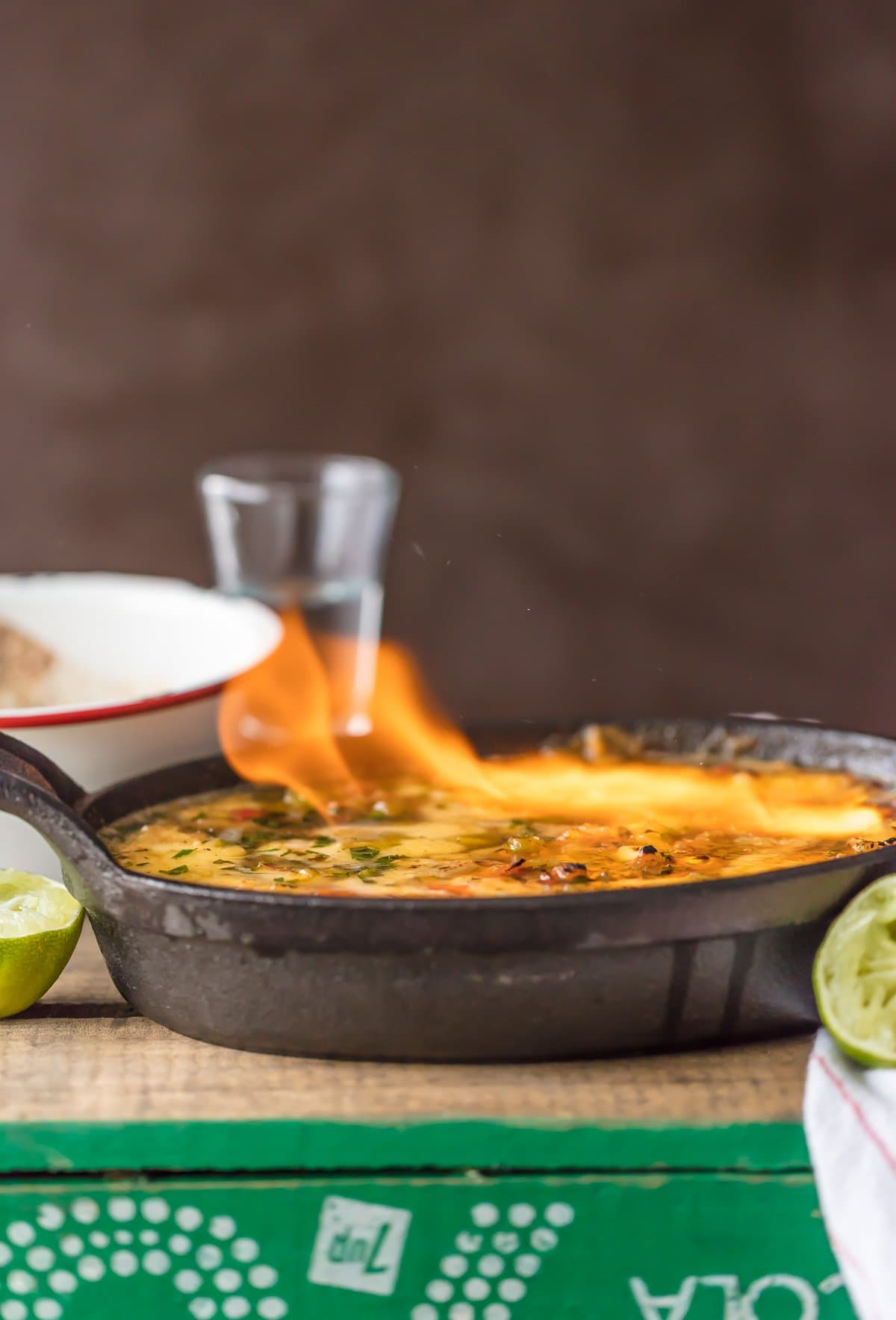 Tequila Lime Flaming Cheese Dip in a skillet