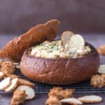 Warm Crab Artichoke Dip in a Bread Bowl