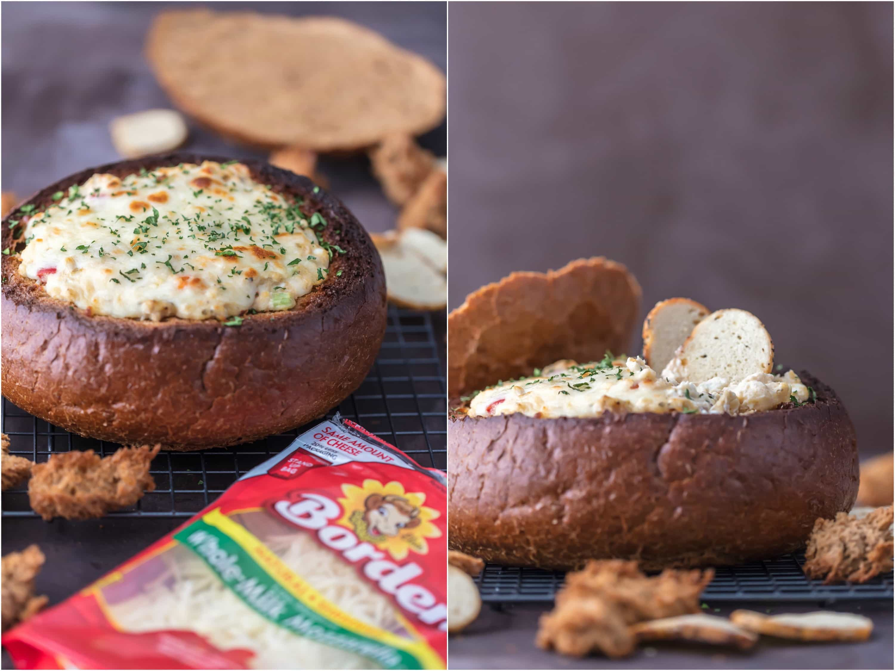WARM CRAB ARTICHOKE DIP IN A BREAD BOWL is the perfect EASY appetizer for tailgating or celebrating with friends. The Super Bowl won't be the same without this simple, classy, and cheesy dip!