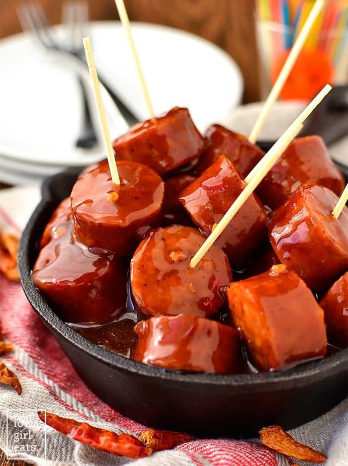 Crock Pot Sweet Chili BBQ Kielbasa | Iowa Girl Eats