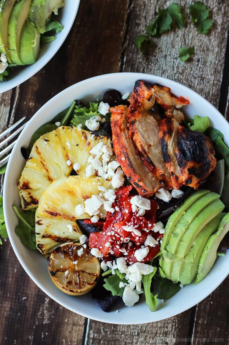 Harissa Lime Grilled Chicken Salad with Cilantro Lime Vinaigrette | Joyful Healthy Eats