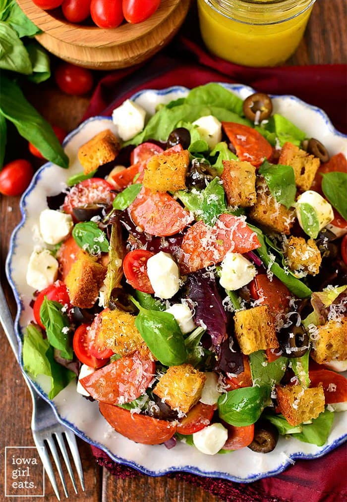 Pizza Salad with Homeade Gluten-Free Croutons | Iowa Girl Eats