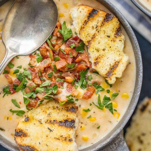 bacon corn chowder in bowl