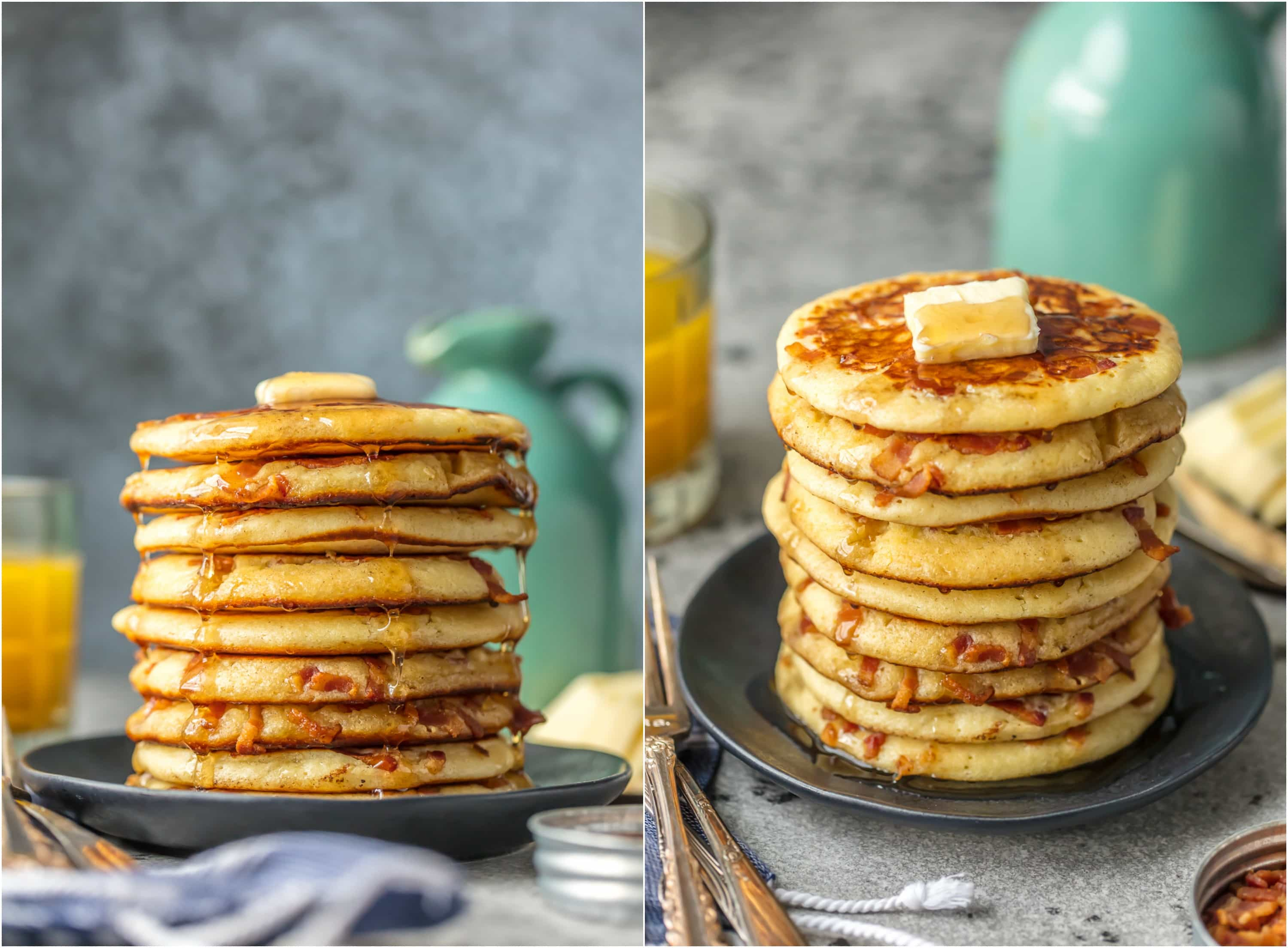 These BACON PANCAKES have been a family favorite for years! We first had these savory pancakes stuffed with bacon bits at the Calgary Stampede in Canada and have been making them ever since. The savory/sweet combo just can't be beat!