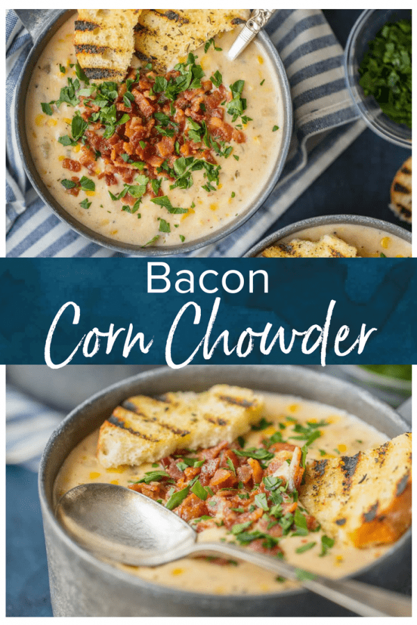 This BACON CORN CHOWDER recipe is a must make for winter! This delicious and easy corn chowder with bacon is loaded with potatoes, corn, bacon, and so much more. This warm and creamy soup is the ultimate comfort food!