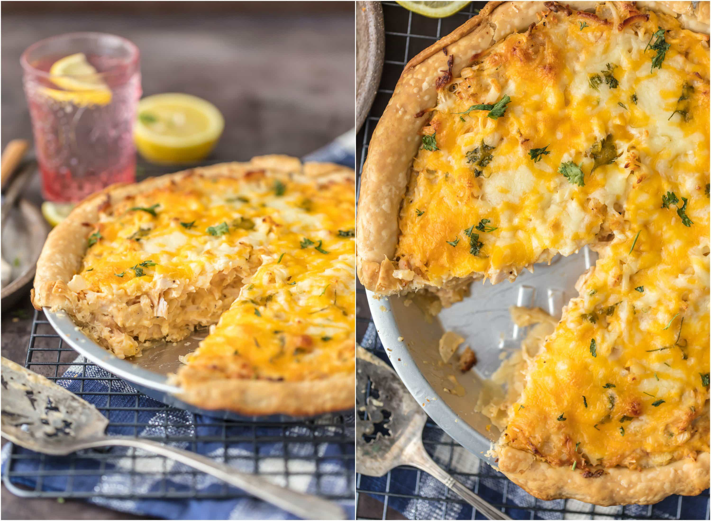 BAKED CHICKEN SALAD PIE is my absolute favorite comfort food recipe. Hot Chicken Salad baked into a flakey pie crust and covered with cheese...what could be better?! Our family LOVES this recipe!