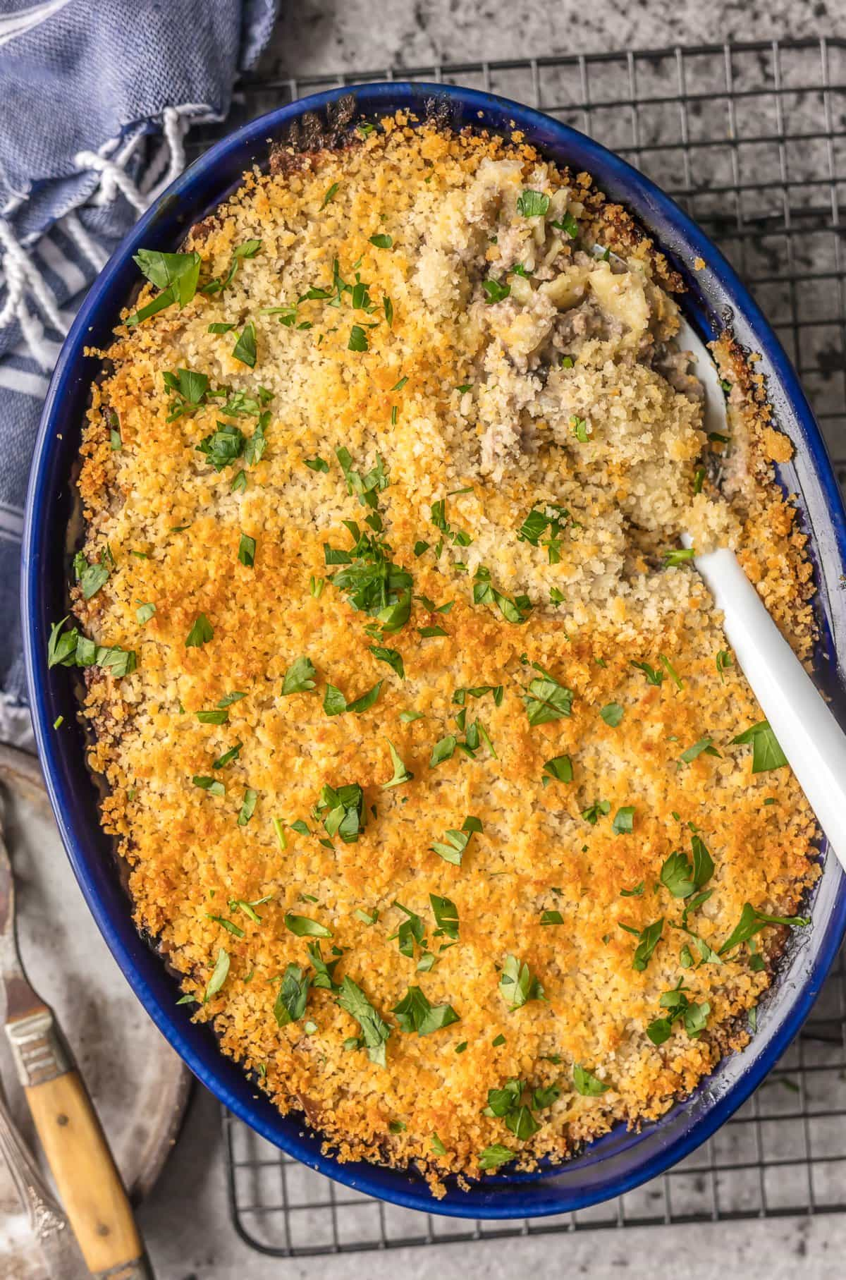 Casserole topped with breadcrumbs