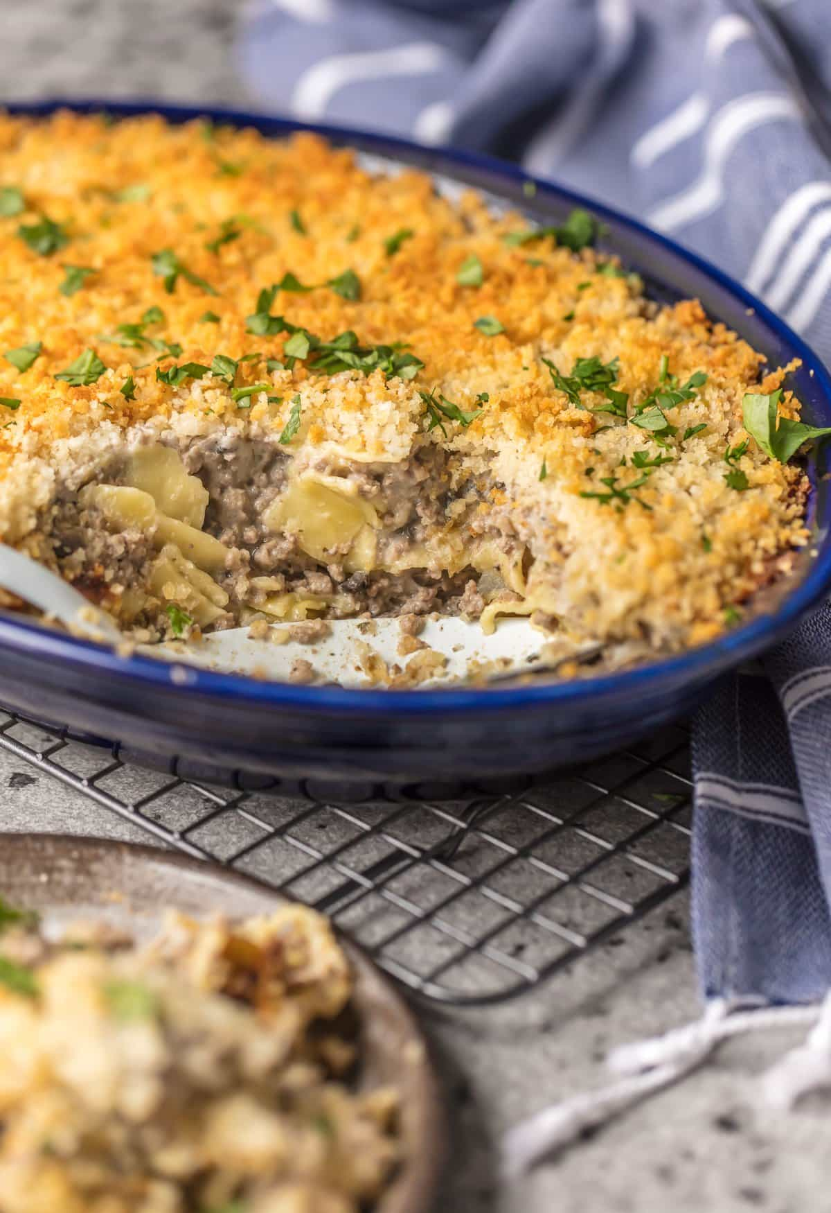 Casserole with a spoonful take out of it