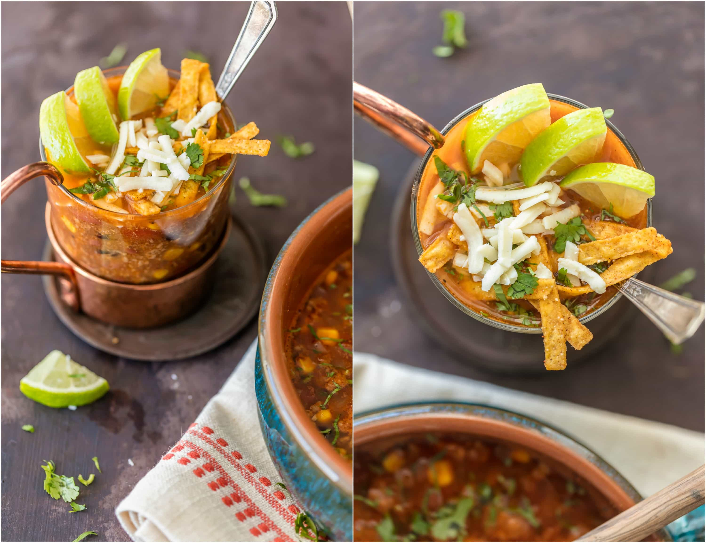 BEEF TORTILLA SOUP is such an easy and delicious comfort food! Loaded with spices, corn, tomatoes, and everything you'd expect from the perfect tortilla soup. Top with shredded cheese, tortilla strips, and all the fixings for the ultimate easy Winter meal!