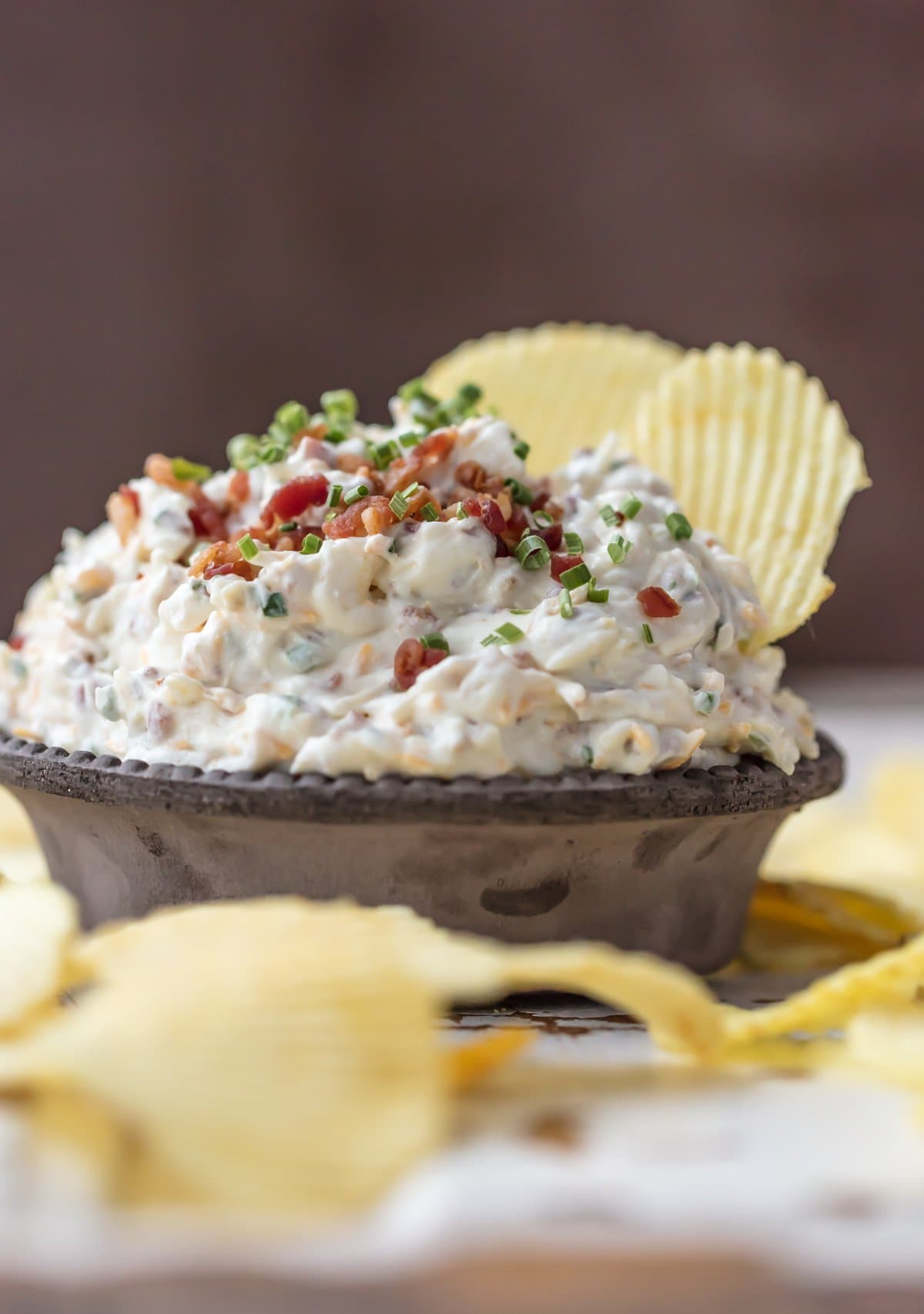 Caramelized Onion Dip with bacon and chives