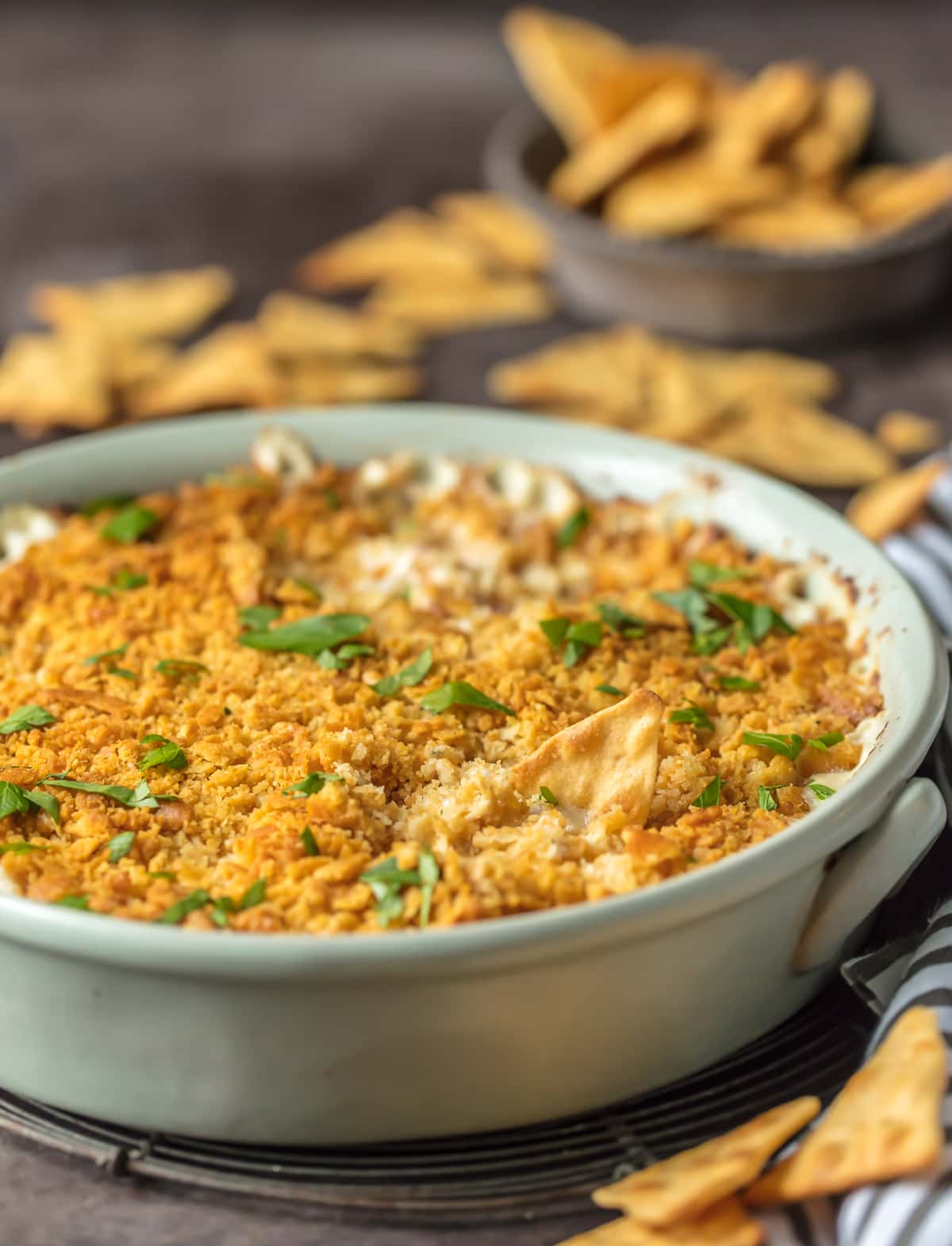Cream Cheese Chicken Dip in a white baking dish