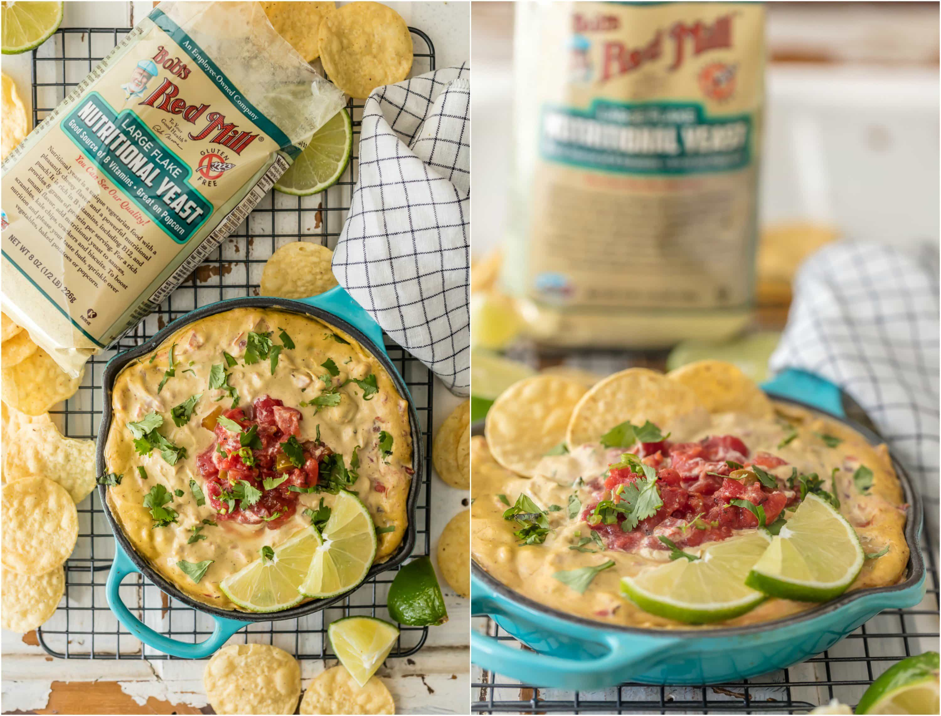 DAIRY FREE QUESO is our newest obsession! This healthy queso made with cashews, nutritional yeast, spices, rotel, and more is SO shockingly delicious. You have to give it a try to believe it!
