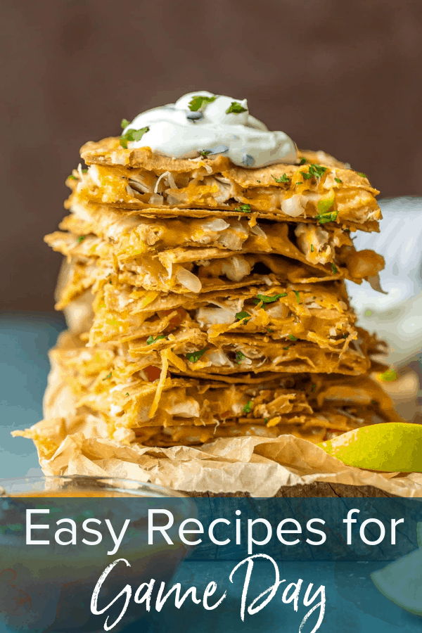 photo of chicken quesadillas with text overlay. text reads: easy recipes for game day