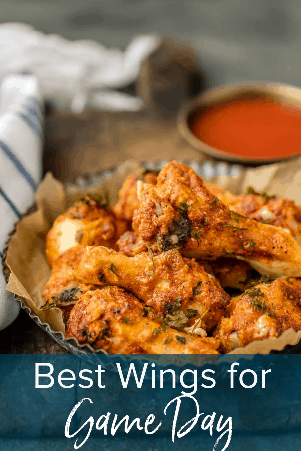 photo of chicken wings with text overlay. text reads: Best Wings for Game Day