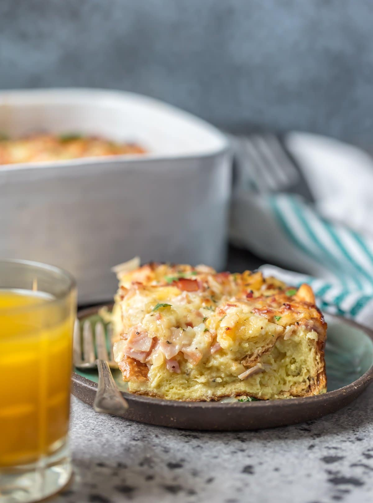 A plate of ham and cheese breakfast casserole