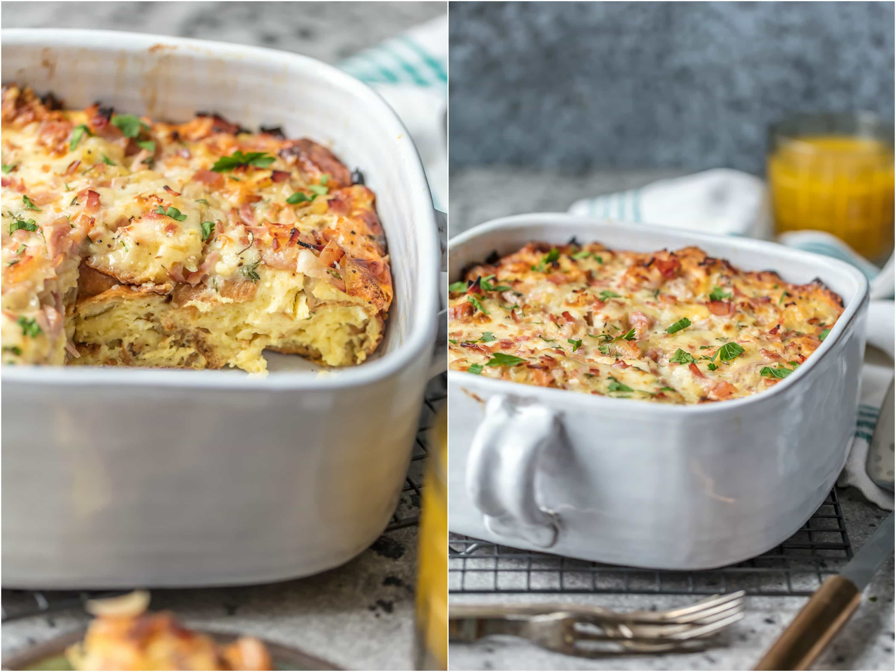 This HAM AND CHEESE BREAKFAST CASSEROLE is our favorite make ahead breakfast for any special occasion. Loaded with ham, cheese, , bread, eggs, herbs, and more! Sure to please everyone and just so easy to make!