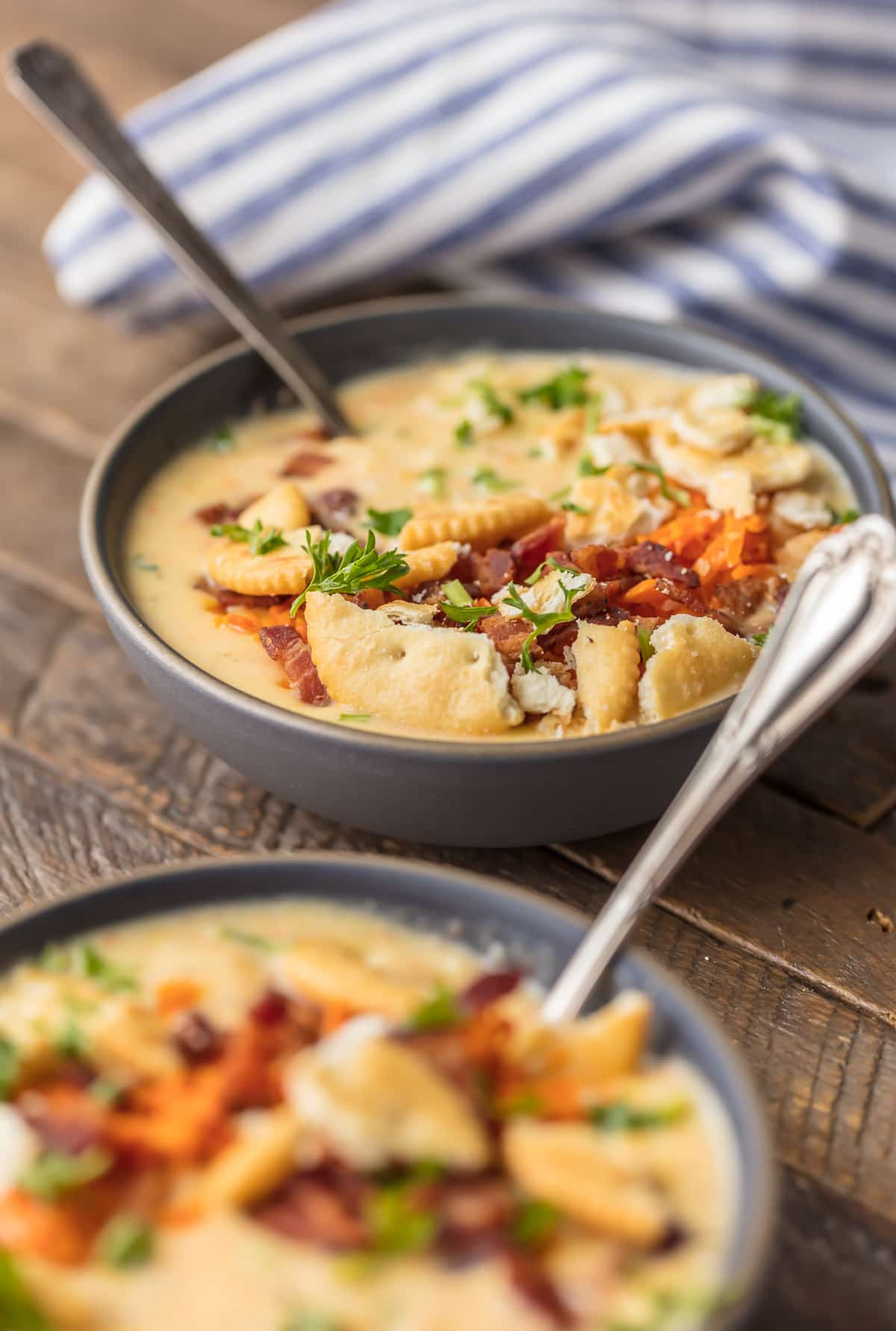 Two bowls of potato cheese soup