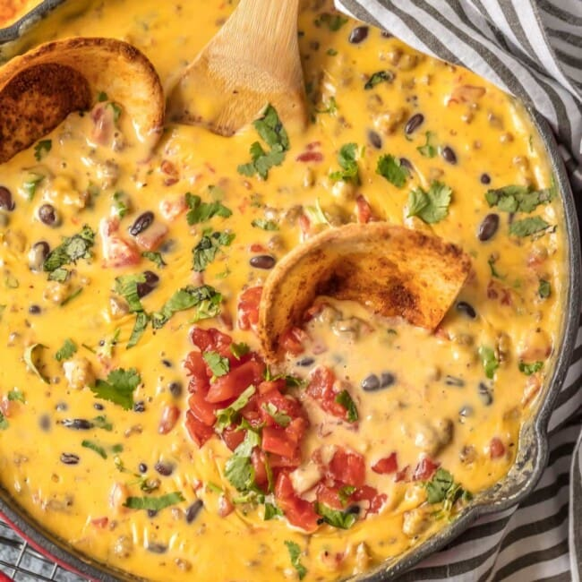 cowboy queso in skillet