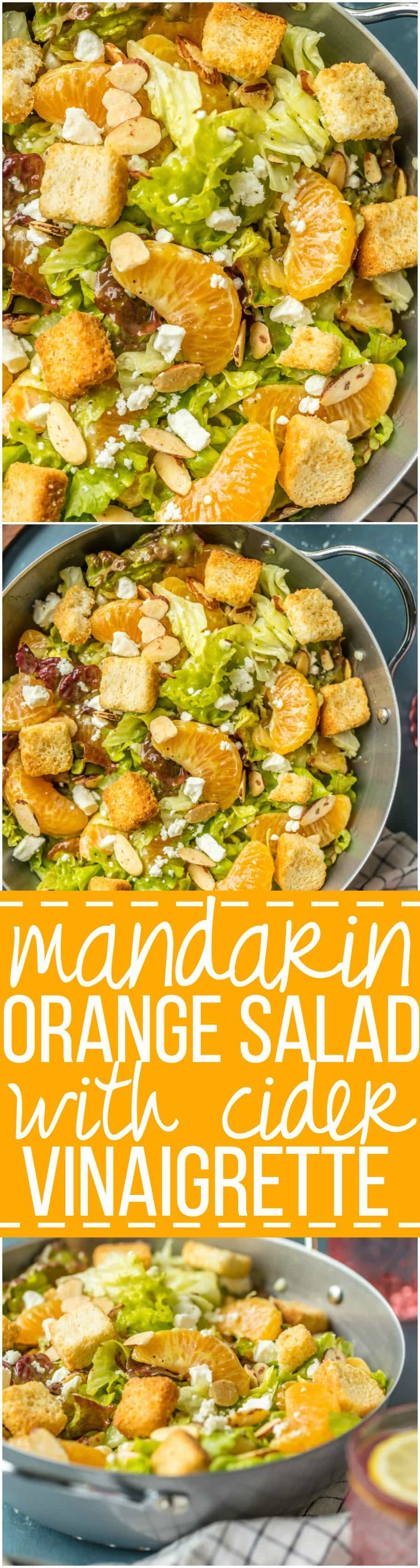 This MANDARIN ORANGE SALAD with ALMONDS AND CIDER VINAIGRETTE has been a favorite in our family forever! SO flavorful and easy. Such a great salad to throw together anytime!