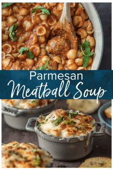 Parmesan Meatball Soup is the ultimate comfort food! This cheesy, hearty Meatball Parmesan Soup topped with melted cheese and basil just might be the best soup you've had all year!