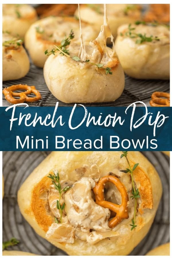 FRENCH ONION DIP is a classic appetizer that should be present at every party. We made this dip even more fun by making it in mini bread bowls! Making bread bowls with fresh rolls is easy, and it makes the perfect appetizer for the Super Bowl.