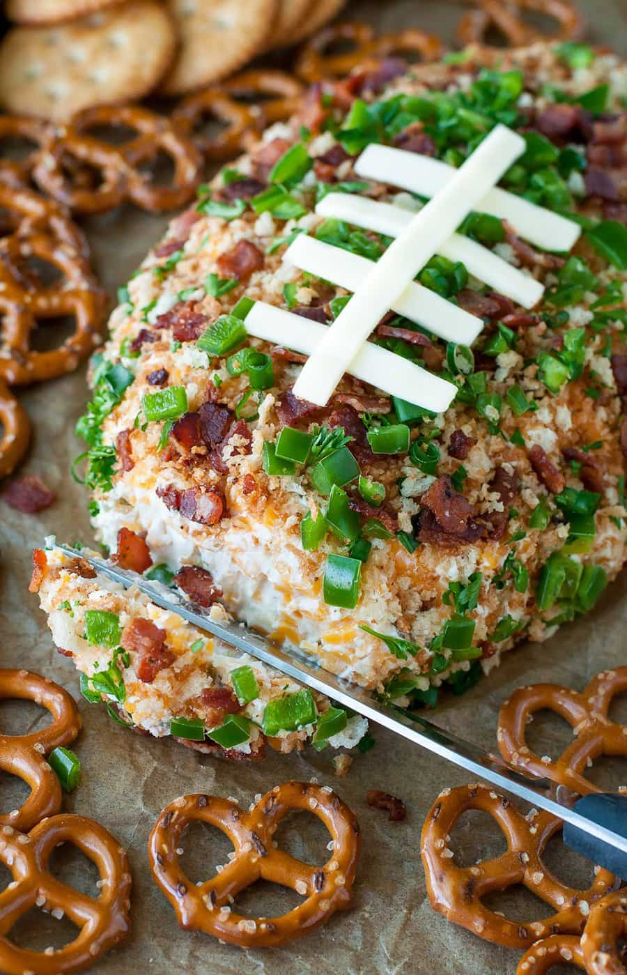 Jalapeno Popper Football Cheese Ball | Peas and Crayons