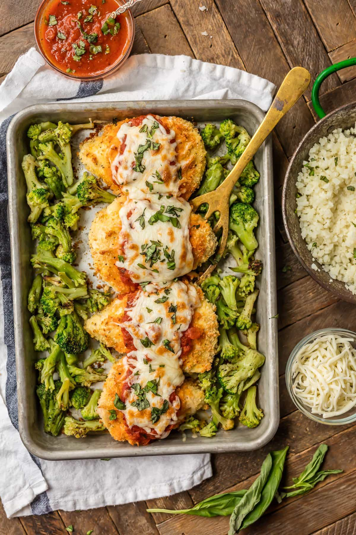 Baked Chicken Parmesan recipe on a sheet pan