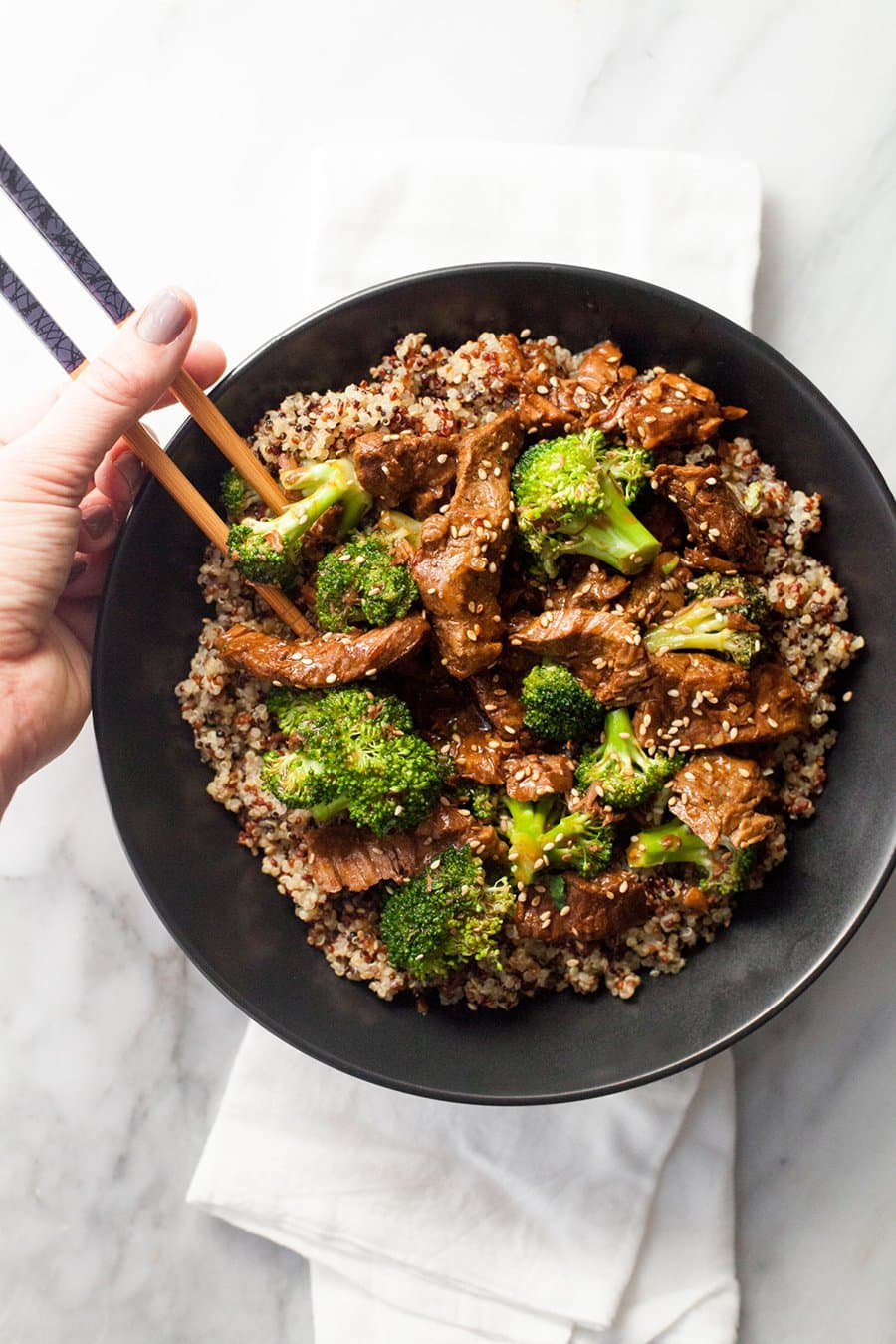 Slow Cooker Beef and Broccoli with Quinoa | Wholefully