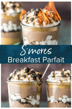 This S'mores Breakfast Parfait recipe is sure to make your mornings great! This delicious s'mores inspired recipe is loaded with Greek yogurt, protein powder, graham cracker crumbs, chocolate chips, and toasted marshmallows. A delicious and easy yogurt parfait to start your day!