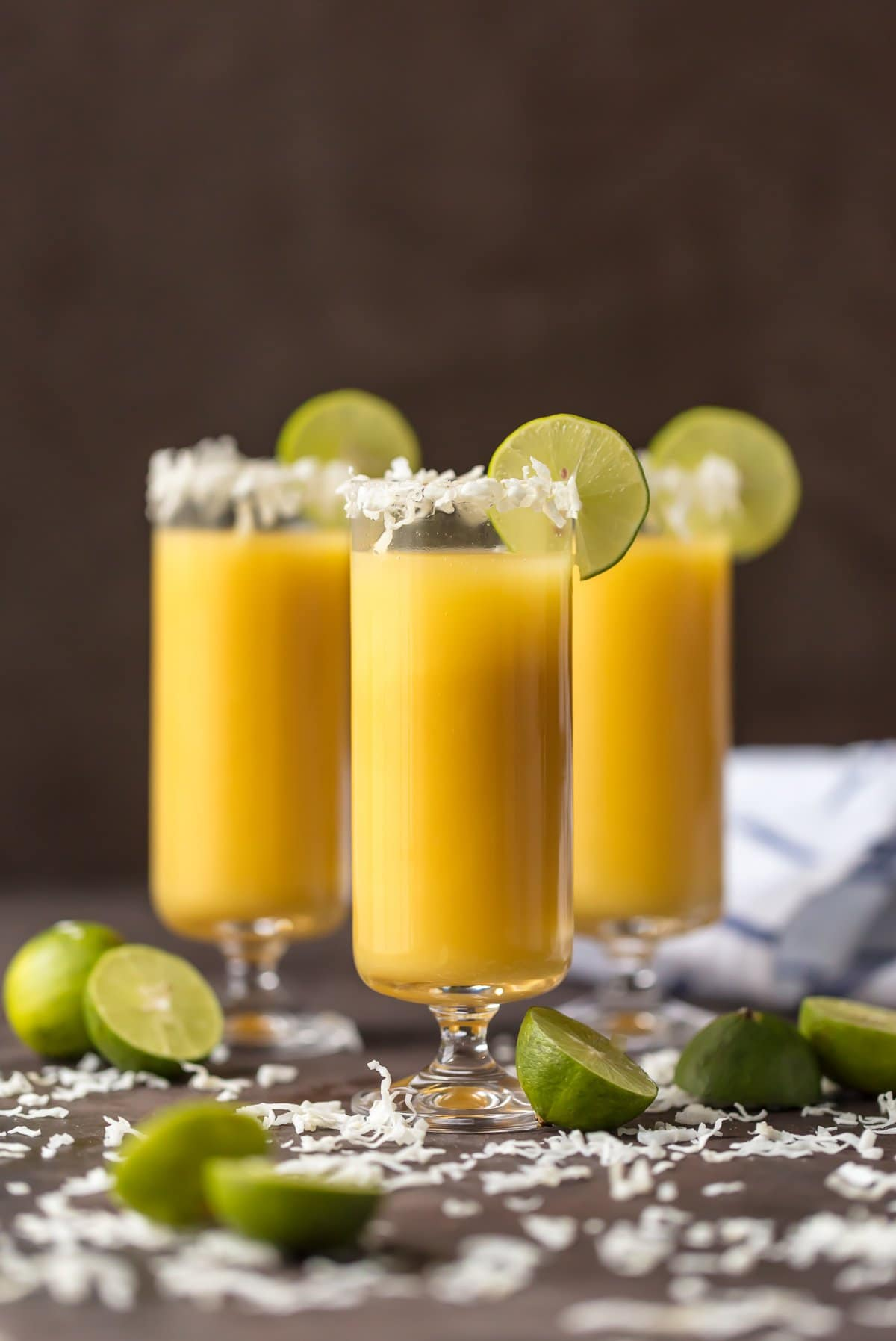 Tropical Mimosa Recipe with pineapple, mango, and coconut
