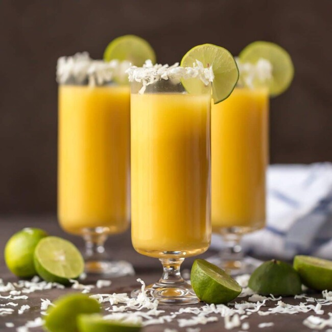 tropical mimosas in champagne flutes