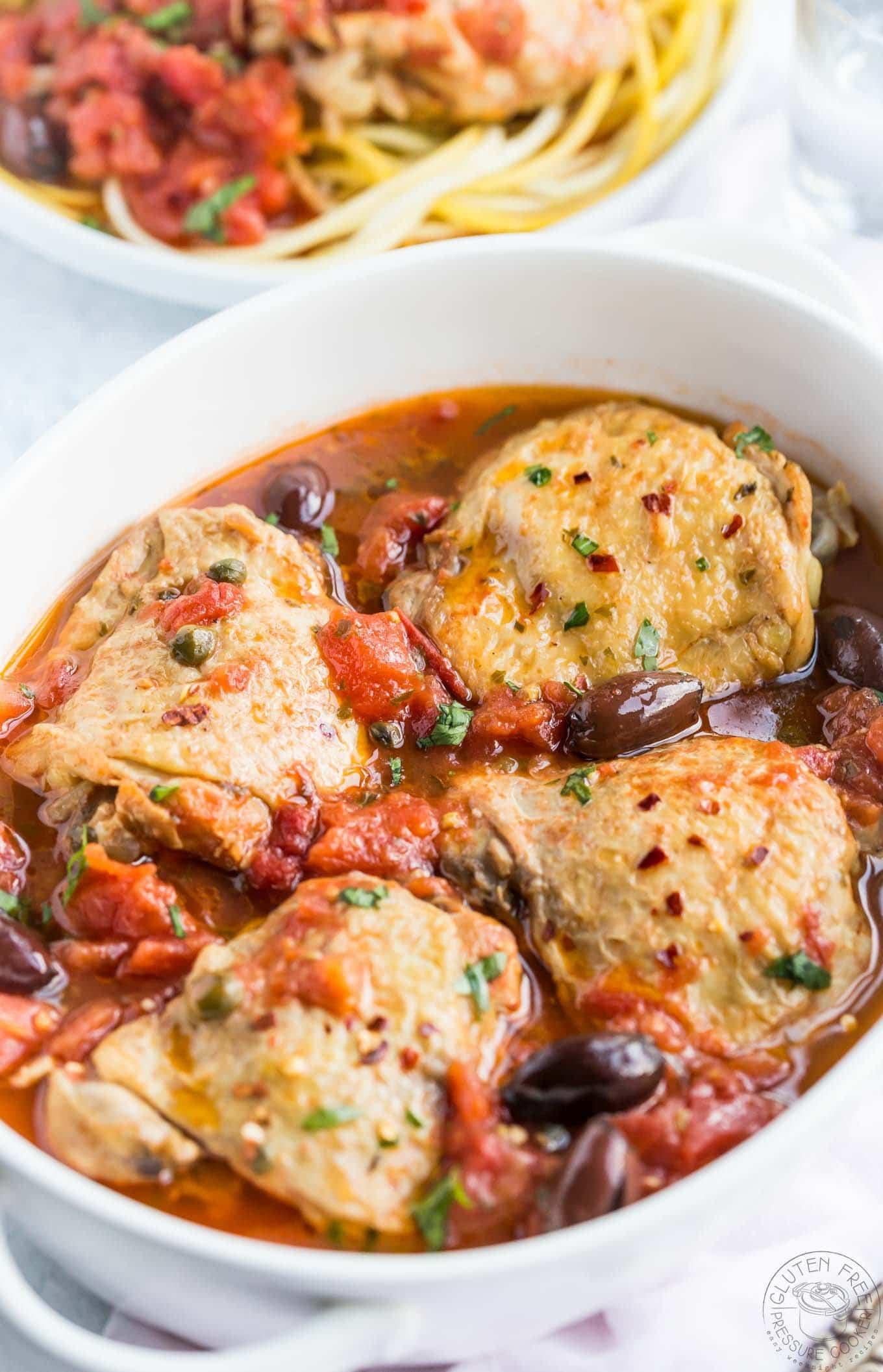 Pressure Cooker Chicken Puttanesca | Gluten Free Pressure Cooker
