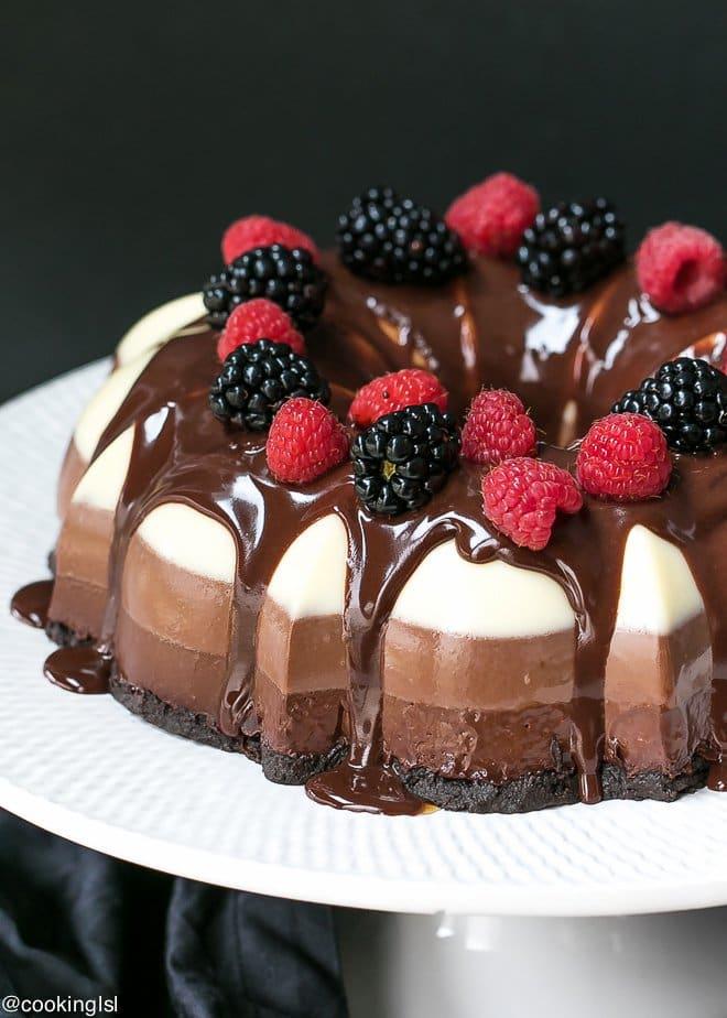 No Bake Three Chocolate Bundt Cake | Cooking LSL