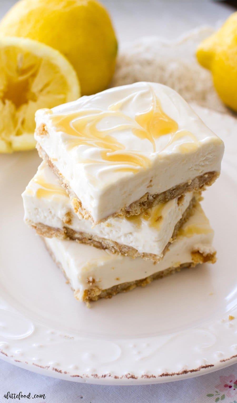 Lighter No Bake Lemon Cheesecake | A Latte Food