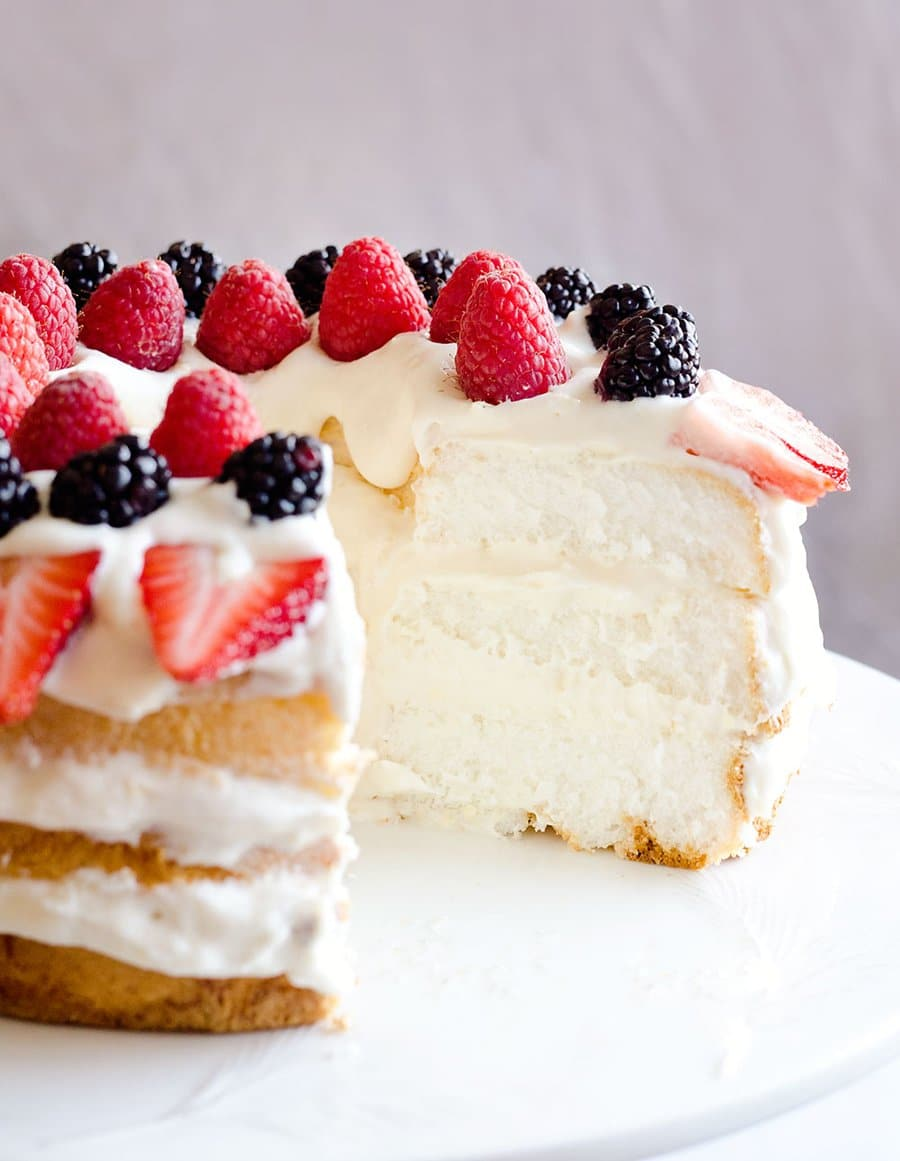 Light Berry Angel Food Cake | The Creative Bite