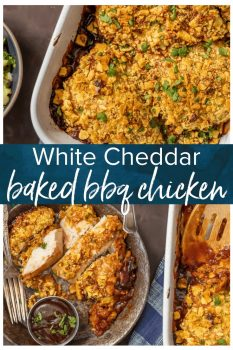 Baked BBQ Chicken Breast makes for an easy and delicious dinner! This CRISPY WHITE CHEDDAR BAKED BBQ CHICKEN only has 3 ingredients, but it's filled with so much flavor. Baked chicken is so simple to make and sure to please the entire family. This is our go-to easy dinner recipe!
