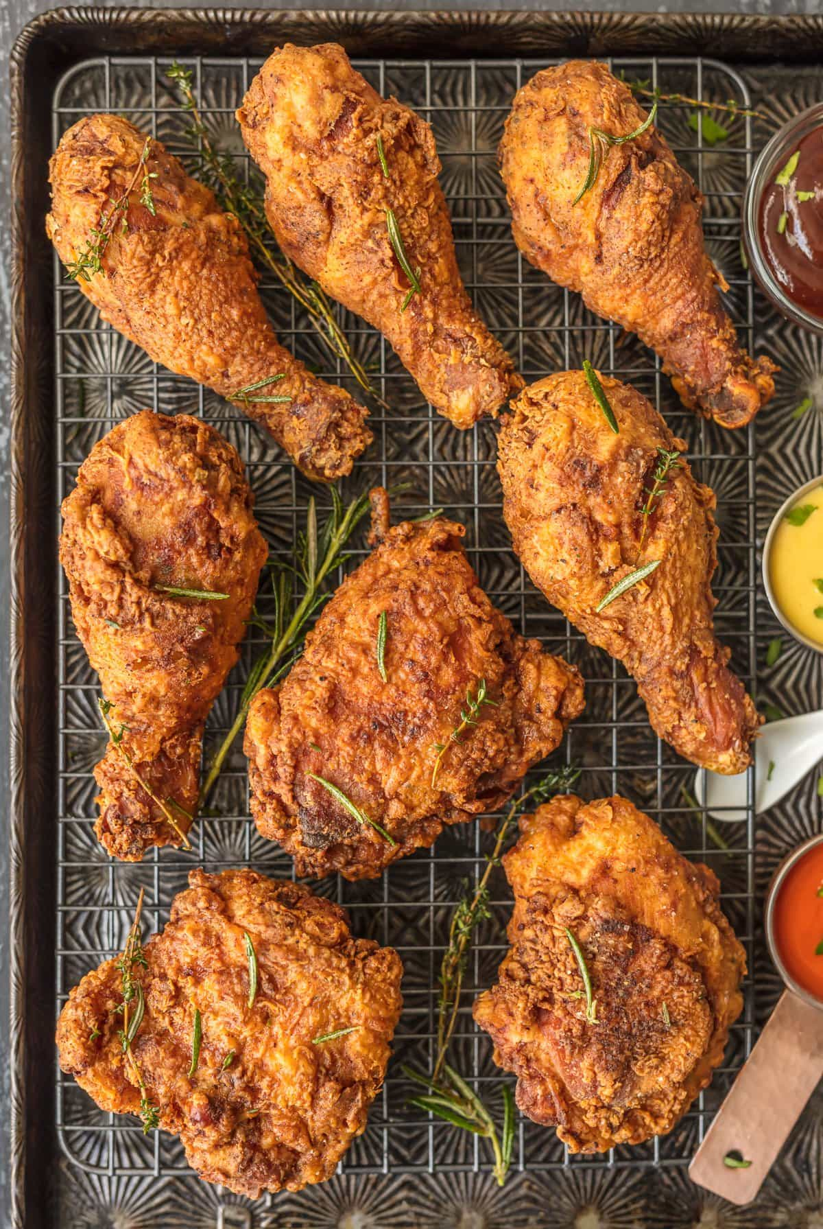 This BEST EVER BUTTERMILK FRIED CHICKEN will become the favorite chicken of your life! Anyone can master this AMAZING technique for the most tender juicy chicken with a crunchy savory outer skin. SO GOOD.