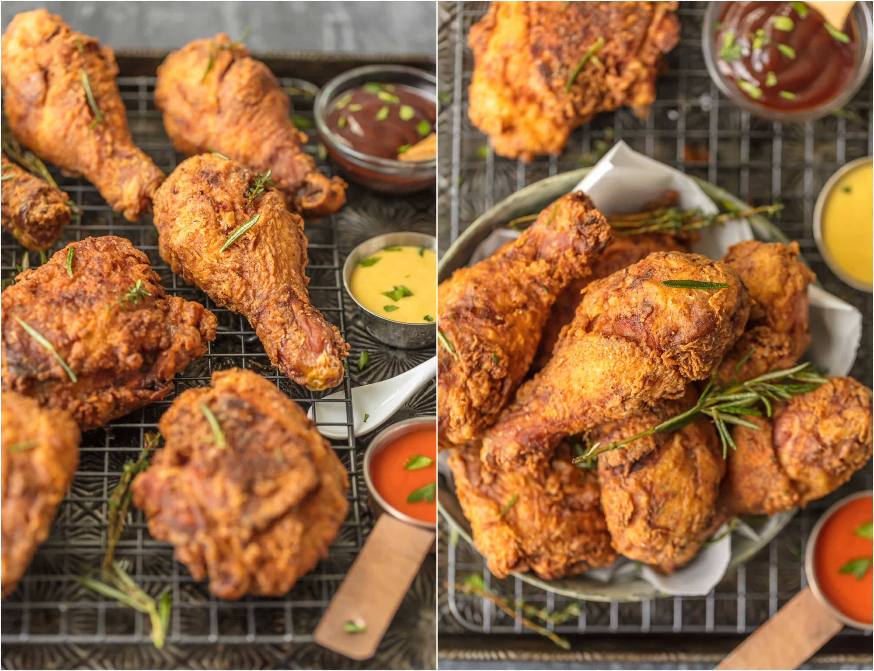 fried chicken with dipping sauces