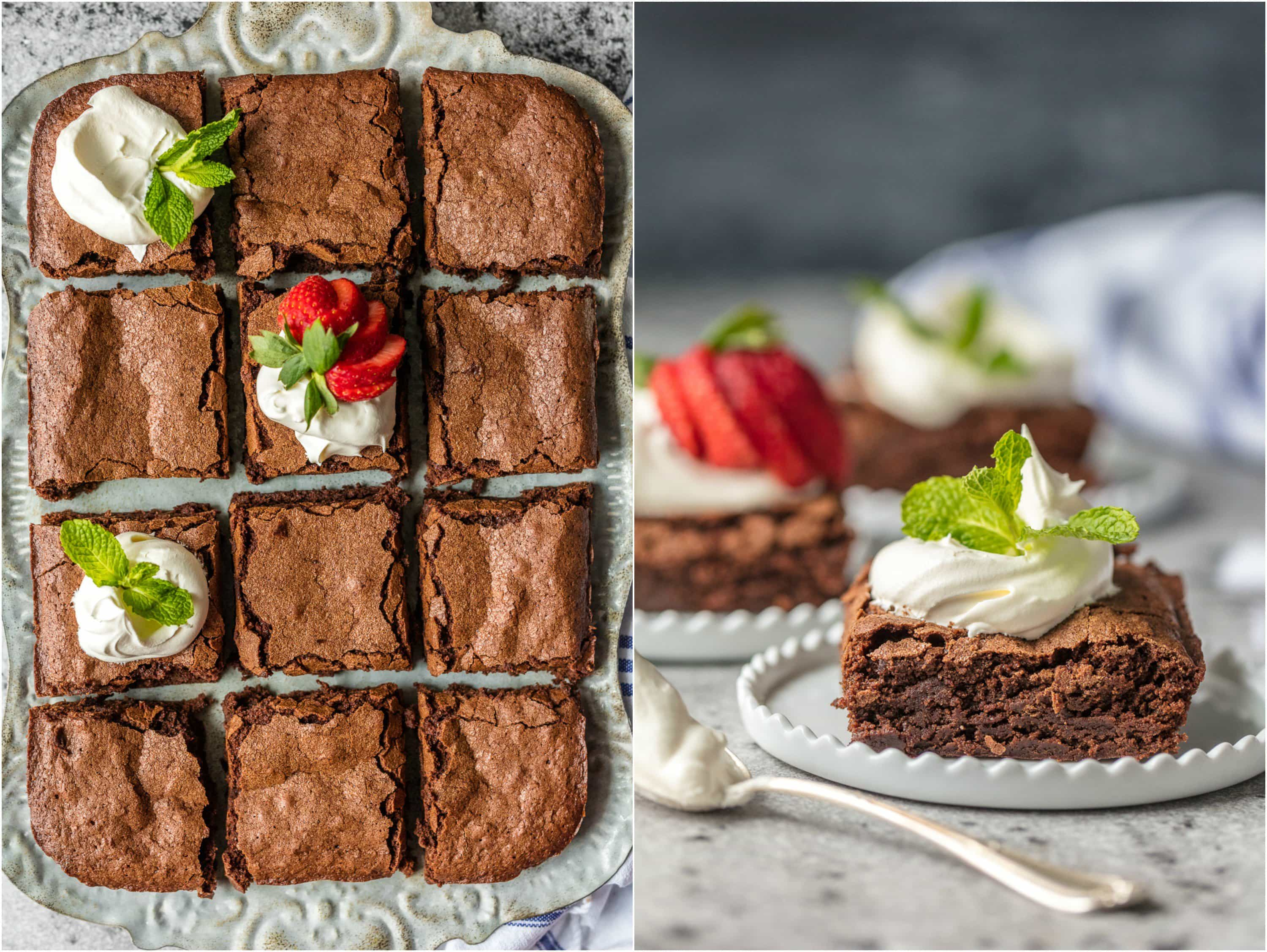 These BEST HOMEMADE BROWNIES FROM SCRATCH will be your favorite brownie recipe EVER! Super dense, moist, rich, and perfect!