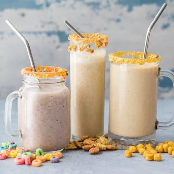 Cereal Milk Breakfast Smoothies (3 Ways!) are a fun, healthy, and easy breakfast the entire family with love! Blend your favorite cereal with milk, bananas, and ice and you're in business! Customizable for any flavor. SO FUN!