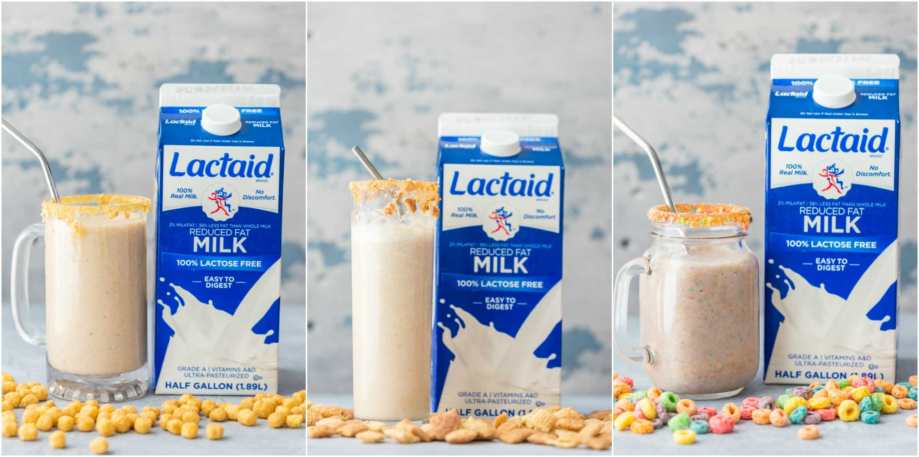 Breakfast Cereal Smoothie (3 Ways!) is a fun, healthy, and easy breakfast the entire family with love! Blend your favorite cereal with milk, bananas, and ice and you're in business! Customizable for any flavor. SO FUN!